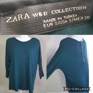 Zara W&B | oversized exposed zipper asymmetric top